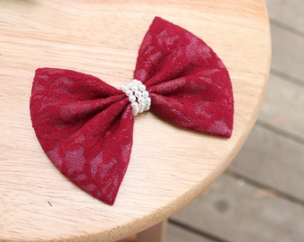 """4.5"""" Shimmering crimson lace hair bow, dark red / maroon lace fabric hair bow, crimson hair bow, lace hairbow, lace accessories, lace bow"""