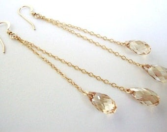 Golden Shadow Swarovski Crystal Gold-Filled Earrings - Handmade Jewelry - Bridesmaid / Bridal Earrings - Minimalist Jewelry - Gold Earrings
