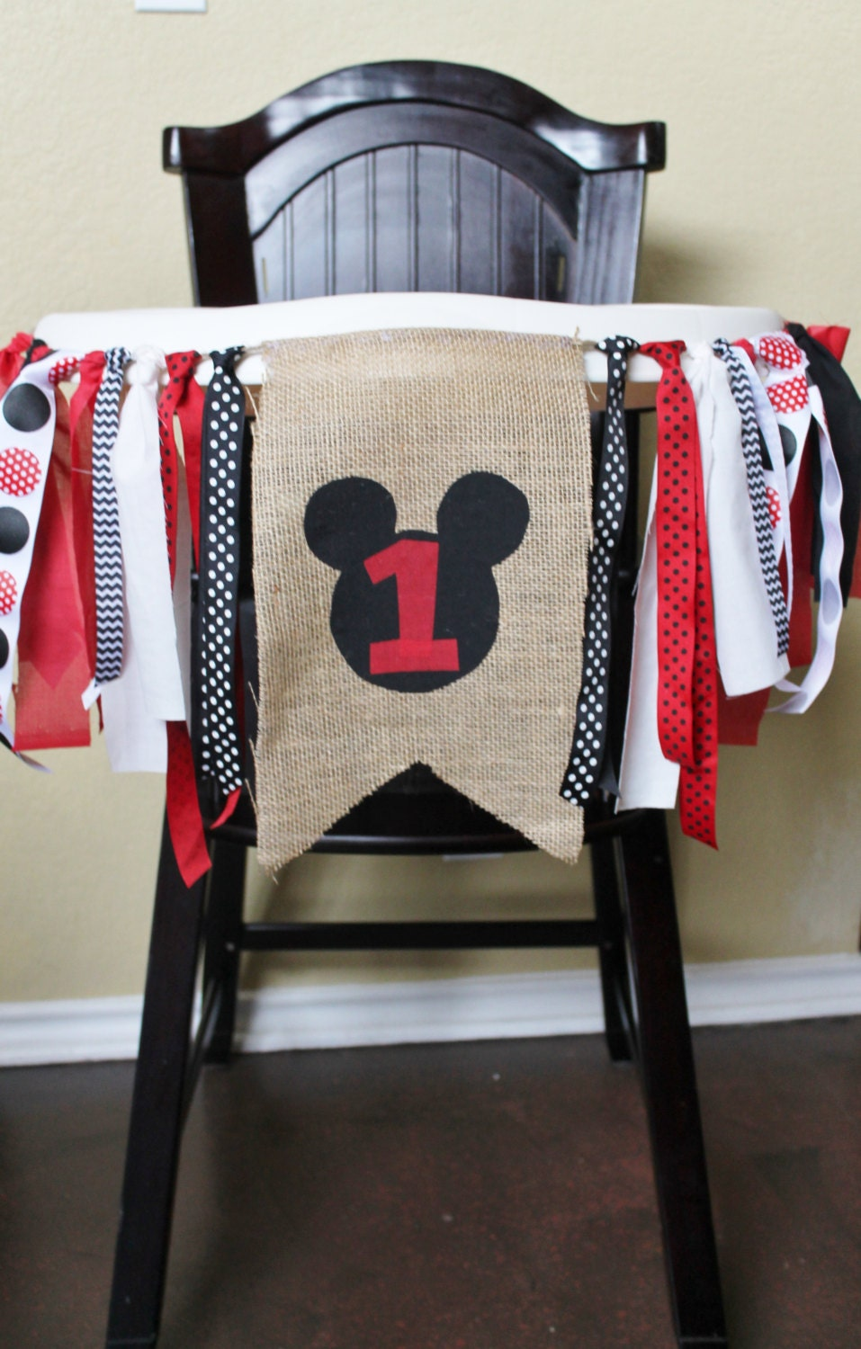 Mickey Mouse Birthday Garland High Chair By CrestlineCreatives