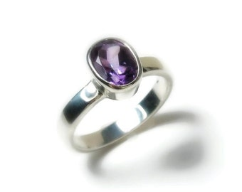 25% OFF Amethyst Gemstone Ring, 14K Gold, Engagement, February Birthstone - white, yellow, and rose gold, Made to Order
