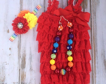 Lace Romper 3 pc Set - Rainbow, Circus, Cake Smash, First Birthday, Photography Prop, Chunky Necklace - Petti Romper, Headband