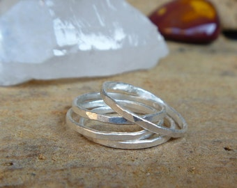 Sterling silver stacking ring set - Made to order in your size!