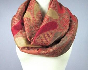 Burnt Orange scarf, paisley scarf, pashmina, autumn scarf, warm scarf, gift for her