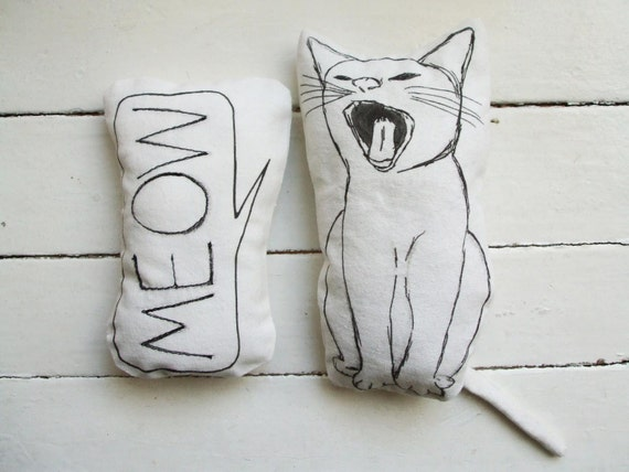 set of 2 pillows cat pillow meow nursery room decor soft toys gift idea for cat lovers home - MosMea
