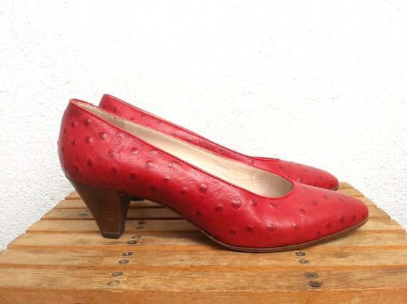 Cele Ferrario Vintage Red Small Heel Shoes Ostrich Leather