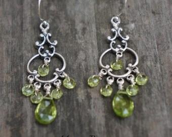 Green Peridot Sterling Silver Filigree Earrings Gemstone August Birthstone Designer Chadeliers gifts under 40 bridesmaid earrings