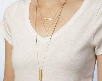 Long layered necklaces  - set of 3 layering necklaces - personalised initial necklace - hammered gold bar - long pendant necklace
