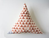 Triangle shaped pillow with handprinted design
