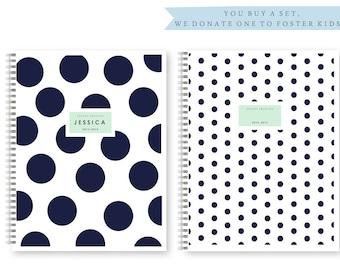 Personalized / Custom Preppy Spiral Notebook Set, Dots & Polka Dots