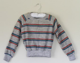 Vintage 1980s Retro Boys Grey and Striped Pullover 2 to 3 Year Old