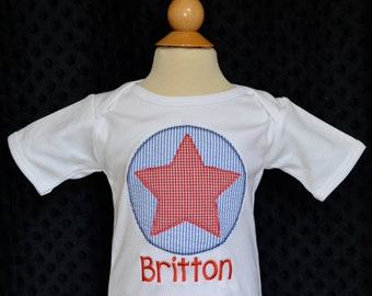 Personalized 4th of July Circle Star Patch Applique Shirt or Onesie Girl Boy