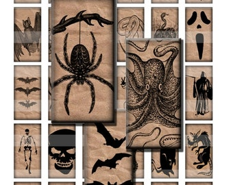 Brown Paper Halloween Creepy Crawly Scary Stuff Digital Images Collage Sheet 1x2 inch Rectangles Domino Commercial INSTANT Download RD19