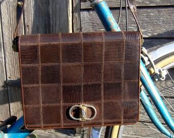 Bag in Brown lizard, shoulder strap, 1960 s