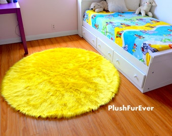 Premium Faux Fur Rug Round Luxury Plush Shaggy Thick Sheepskin Contemporary  Modern Area Home Accents Decor