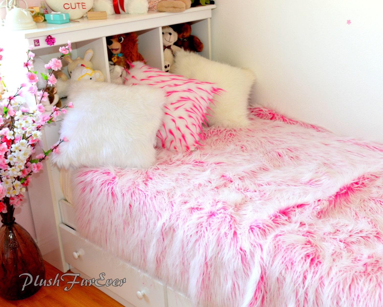 Mongolian Faux Fur Bedding Pink White Mongolian Faux Fur