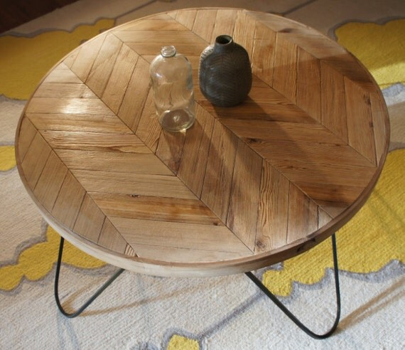Round Coffee Table With Metal Legs: Round Chevron Patterned Coffee Table A By NewHistoryFurniture