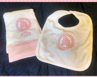 Personalized Girl's Baby Bib and Burp Cloth Set-Monogrammed Circle Initial
