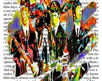 "The Beatles, John Lennon, Paul McCartney, George Harrison, Ringo Starr, POSTER from Original Dwg 18"" x 24"" Signed/Dated by Artist w/COA 4"
