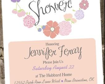 Baby Shower Invitation: Garden Style Flowers