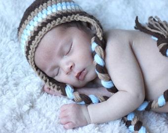 Newborn Boy Hat, Baby Boy Hat, Infant Boy Hat, Striped, Brown, Blue, Newborn Photo Prop, New Baby Gift, Newborn Earflap, Baby Shower Gift