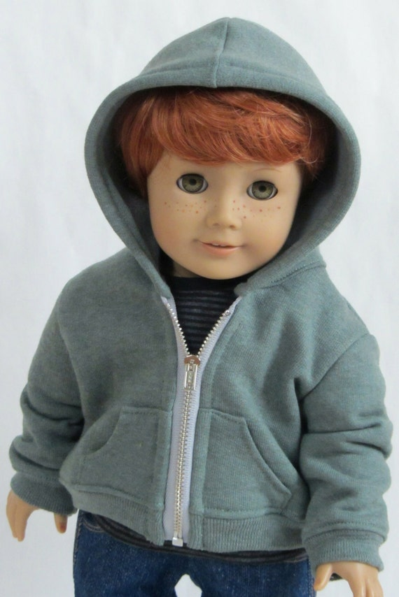 American Girl Boy Doll Clothes Hoodie Sweatshirt in Smoky
