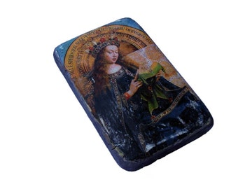 17x11cm wooden icon Blessed Virgin Mary (Beata Maria Virgo, Mother of God, Madonna, Our Lady) Annunciation of the Lord, The Lamb of God