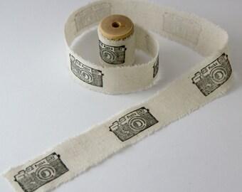 Handmade Ribbon - Hand Stamped Ribbon - Cotton Ribbon - Camera Ribbon - Vintage Ribbon - Photo Ribbon 1.5m