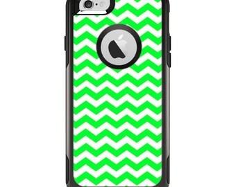The Green & White Chevron Pattern Apple iPhone 6 Otterbox Commuter Case Skin Set