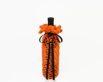 Wine Cozy - Crochet Wine Bottle Covers Sacks Gift Bags - Orange with Black Ribbon