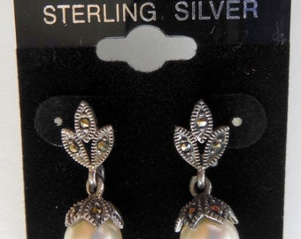 ELEGANT Sterling Silver  Faux Pearl and Marcasite Pierced Earrings