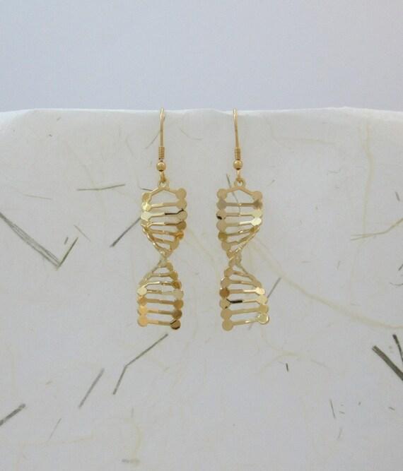 dna earrings helix dangle earrings 24 karat gold