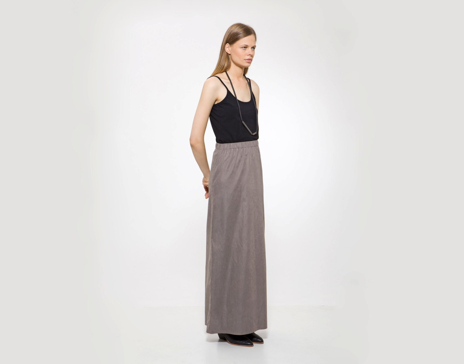 gray maxi skirt etsy finds