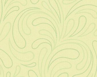 Light Mint Green Wallpaper - Metallic Water Spout Design - Swirl, Paisley, Retro, Tonal - By The Yard - AC6169