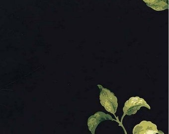 Black Wallpaper with Contrasting Green Stem and Leaf Toss - Nature, Floral, Cream, Botanical - By The Yard JT7464