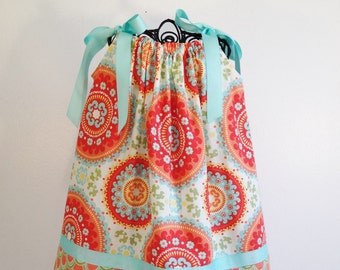Orange Geometric Flowers Pillowcase Dress, Made To Order in Sizes 6M-5, This dress is size 24M