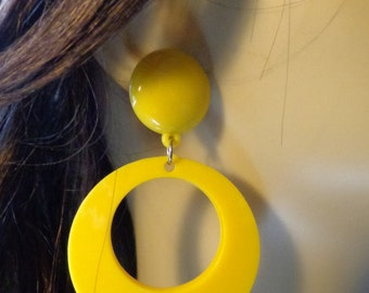 VINTAGE DANGLE HOOP earrings Yellow Earrings 3.25 inch long pierced Donut Hoop Earrings