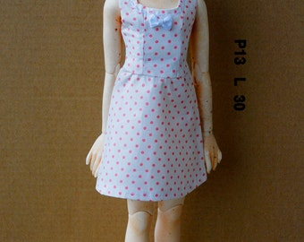BJD MSD Dress {Pink Polka Dot Summer Dress}