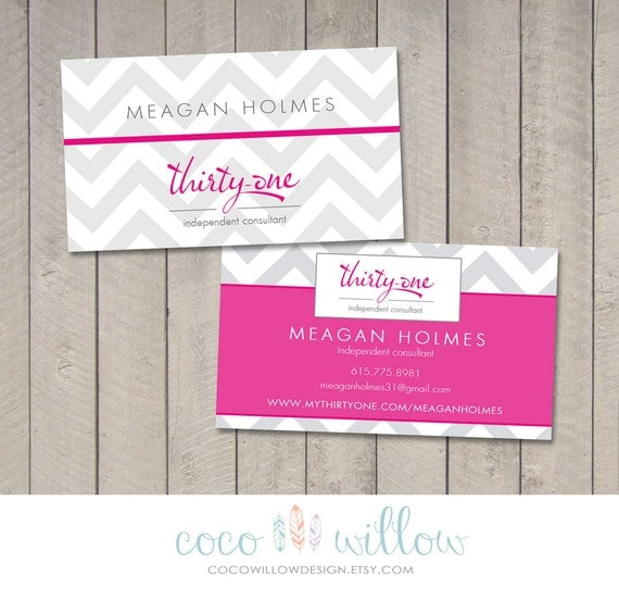 Thirty one business card printable by coco by cocowillowdesign for Thirty one business cards vistaprint