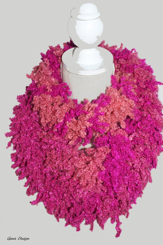 Crochet infinity scarf pink Radiant Orchid by gunadesign