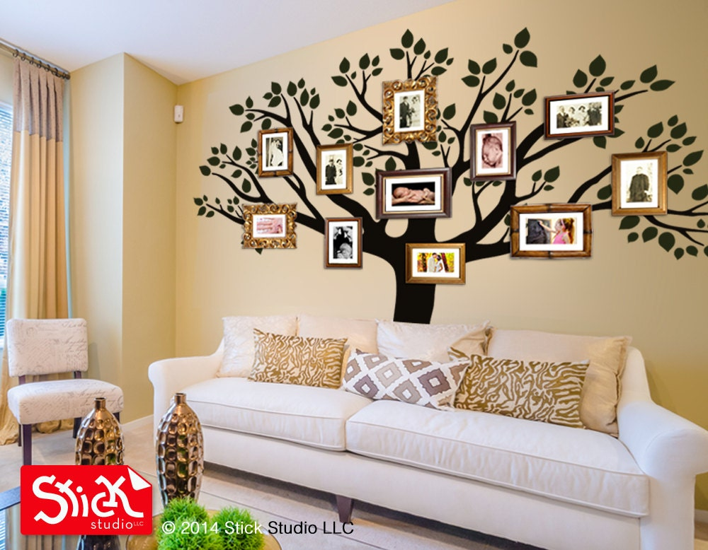 Decal living room wall decal family wall decal family tree - Arbre genealogique stickers ...