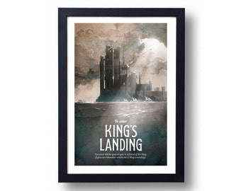 Game of Thrones Poster, Game of Thrones Gift, Game of Thrones Art, House Stark Art, Kings Landing Art, Kings Landing, Game of Thrones Map
