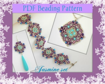DIY Beading pattern Jasmine set of jewelry with superDuo or Twin beads, rulla / PDF tutorial with detailed instructions, images and diagrams