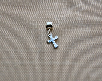 Custom Sterling Silver Cross big hole bead, european charm