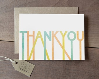 Rustic striped geometric thank you cards - Pastel mint yellow peach thank you card set - Set of 5 thank you cards