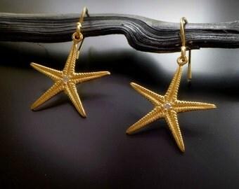 Gold Starfish Earrings, Sea Star Earrings, zircon seastar earring, 24K gold plated, dangle earrings