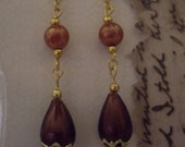 Recrafted Earrings, Dangle, mulberry/burgundy,Pierced.