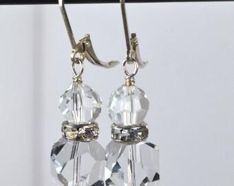 Sterling Silver Swarovski Bridal Ice Earrings-Reduced
