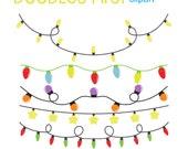 String Lights Doodle : String Lights Digital Clip Art for Scrapbooking Card Making Cupcake Toppers Paper Crafts
