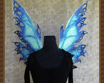 Adult Fairy Wings**Iridescent Blue/Black/Silver**FREE SHIPPING**Costume/Photography/Masquerade/Cosplay/Weddings/(Wings Only)