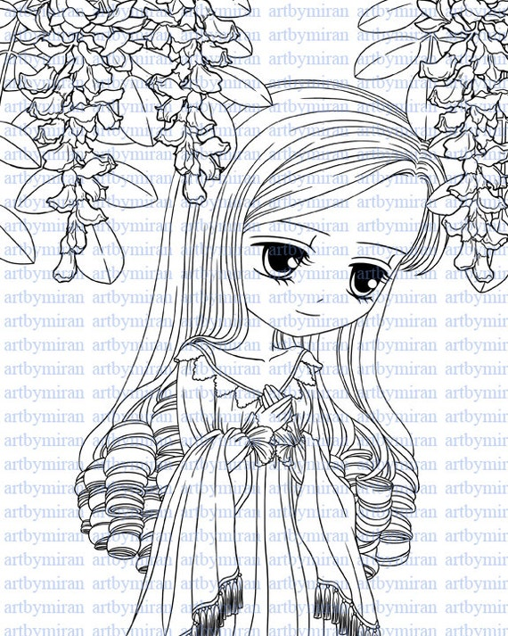 Digital Stamps-Missing you, Digi stamp, Big Eye Doll Coloring Page,  Instant Download Line Art for Card